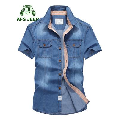 战地吉普AFS JEEP牛仔短袖衬衫男 夏季宽松休闲半袖衬衫 男士时尚纯棉牛仔衬衣潮上衣