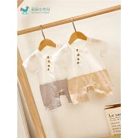 男宝宝薄款哈衣婴儿夏装连体衣和尚服可爱萌婴儿外出爬服