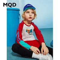 【1件3折:90】MQD男童长袖T恤纯棉2020春季新款中大儿童宽松运动插肩袖潮体恤