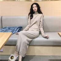 秋冬女装新款韩版chic气质过膝显瘦后开叉高领打底长裙纯色连衣裙