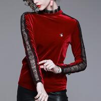秋冬女装2018新款蕾丝半高领长袖打底衫恤欧货洋气小衫丝绒上衣