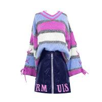 套装裙女秋冬装2018小清新条纹针织衫皮裙两件套连衣裙短裙 紫色