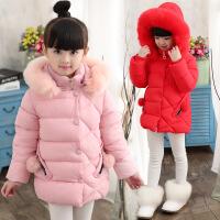 女童棉衣女孩冬装韩版儿童加厚棉袄女大童中长款外套羽绒 红色 110cm
