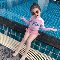 中大童小公主条纹游泳衣新款泳装女童宝宝儿童长袖分体泳衣