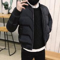 男士冬季休闲棉衣潮流韩版修身加厚外套青年字母印花冬装棉袄 A301-H11 黑色