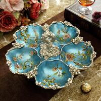 美式水果盘茶几摆件装饰品创意分格盘家用复古奢华客厅欧式干果盘