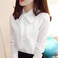 秋冬季加绒衬衫女长袖白色雪纺打底衫上衣蝴蝶结套头加厚保暖衬衣 白色 秋季不加绒版