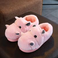 儿童棉拖鞋冬男女童拖鞋亲子小孩棉拖鞋室内家居可爱一家三口 包跟粉色 230码内长21cm