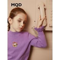 MQD童装女童毛衣打底衫针织衫2019冬装新款儿童半高荷叶袖