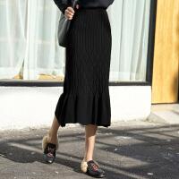 黑色针织半身裙长裙秋冬加厚中长款高腰包臀鱼尾一步裙女裙子