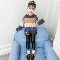 女童毛衣2018新款春秋�b冬�b�n版�和���松�l�y套�^洋�忉��打底衫MYZQ75 �{色( 上衣+米色皮�)