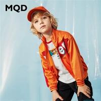 MQD男童童装连帽开衫卫衣20春新款儿童圆领拉链运动衫韩版潮上衣