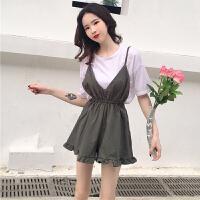 套装女春季新款韩版女装百搭白色显瘦短袖T恤+吊带连体阔腿裤两件