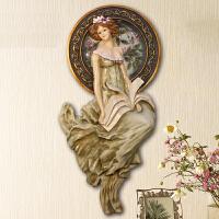 欧式家居墙上装饰品创意墙饰客厅玄关墙面壁挂装饰挂件天使挂饰会所别墅奢华墙壁装饰浮雕 欧式皇室贵族读书少女