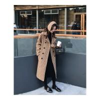流行毛呢外套女秋冬装新款韩版中长款宽松翻领格子呢子大衣潮 均码