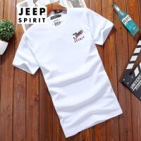 吉普JEEP短袖T恤男夏装圆领时尚休闲男士半袖打底衫男装纯色薄款t恤