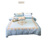 欧式宫廷刺绣60支全棉四件套蓝色1.8纯棉套件床双人床单床上用品定制