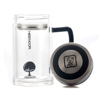 包邮 希诺XN6720 双层玻璃杯290ML 玻璃茶杯 手柄办公杯 泡茶杯