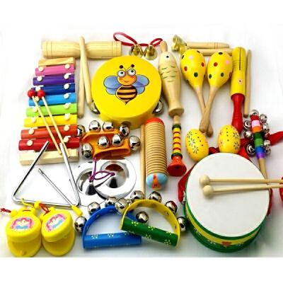 儿童打击乐器套装组合婴幼儿早教教具音乐器材手摇铃 黄色乐器23件套 送故事书+收纳袋 定制类产品请联系客服后再下单,私自下单本店有权不发货,谢谢您的配合!