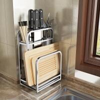 厨房砧板菜刀架筷子一体304不锈钢家用多功能插放刀具刀座置物架 304不锈钢刀具砧板架