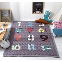 四季加厚宝宝爬行垫防滑儿童地垫游戏毯折叠榻榻米布质婴儿爬爬垫 浅灰色 加厚--数字游戏
