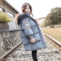 女童棉衣新款冬装中大童韩版洋气儿童女中长款棉袄 金丝绒棉衣蓝灰色 100身高90-100cm
