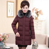 中年女冬装棉衣外套连帽加厚中长款4050岁妈妈装毛领保暖羽绒