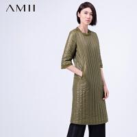 AMII[极简主义]冬雪纺毛边七分袖修身大码棉衣连衣裙11581474
