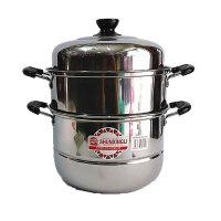 顺兴利 特厚三层蒸锅38CM 多用不锈钢营养蒸锅 加厚加大号节能蒸锅 优质不锈钢材