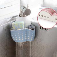 【好货】厨房水槽挂袋沥水袋 小麦秸秆双层可调节按扣式沥水篮挂架 水池水龙头洗碗布海绵收纳小置物架