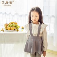 [当当自营]贝康馨女童秋装荷叶领纯棉套头衫