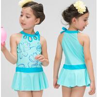 韩国公主中大童 女孩女童连体裙式游泳衣套装儿童泳衣
