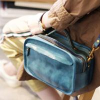 秋季包包蓝色牛皮ins复古原创手工真皮女包斜挎手提小方包