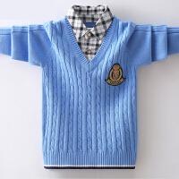 儿童衬衫领线衣保暖打底衫中大童秋冬男童加绒毛衣加厚套头针织衫