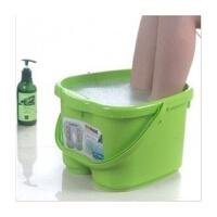 普润 脚底按摩功能 塑料足浴桶 洗脚盆 洗脚桶足浴盆 绿色