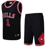 篮球服套装男士 公牛队23号乔丹 1号德里克罗斯 篮球衣裤训练服