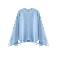 圆领毛衣女秋季新款韩版拼接蕾丝绑带针织衫纯色套头百搭上衣 均码