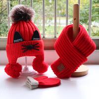 秋冬季宝宝帽子围巾套装儿童针织毛线帽子围围脖手套