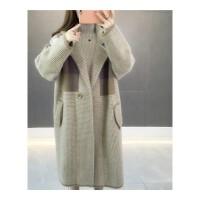 秋冬格子大衣韩版秋装长袖针织衫女开衫厚宽松中长款毛衣外套