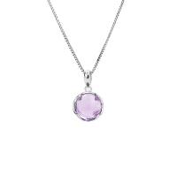 925纯银天然紫水晶项链女吊坠锁骨链三八妇女节母亲节送妈妈礼物