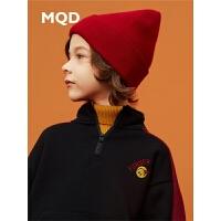 MQD童装男童套装2019冬季新款大童保暖半开襟儿童加绒加厚两件套