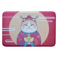日式喜庆猫圈丝进门地垫家用入户脚垫厨房客厅门厅门垫防滑垫