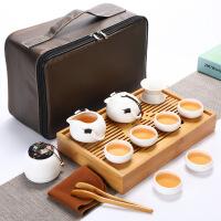 旅行茶具套装 车载茶盘 便携式户外旅游包简约家用陶瓷功夫茶杯茶壶