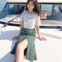 【2件3折】ONEMORE2019夏装新款印花半身裙女高腰碎花复古裙温柔雪纺裙