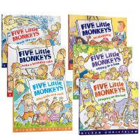 Five Little Monkeys 五只猴子6本平装套装 廖彩杏推荐英文原版儿童绘本go shopping  送音频