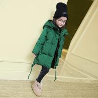 女童棉衣外套中长款新款中大童棉袄加厚羽绒儿童韩版冬装 墨绿 110
