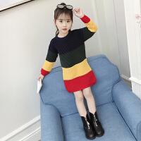 女童毛衣2018新款套头洋气韩版秋冬季中大童时髦针织毛线上衣潮款MYZQ75 彩色 彩虹毛衣