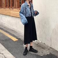 气质仙女裙夏季韩国黑色V领无袖针织背心裙宽松简约连衣裙女裙子
