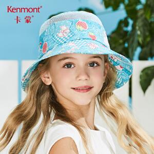卡蒙3-6岁女宝宝遮阳帽折叠太阳帽女大帽檐儿童夏季防晒帽棉透气 4699