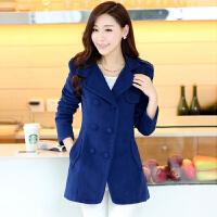 2017春装新款韩版女装毛呢大衣女双排扣修身显瘦翻领呢子大衣外套 XQ-618